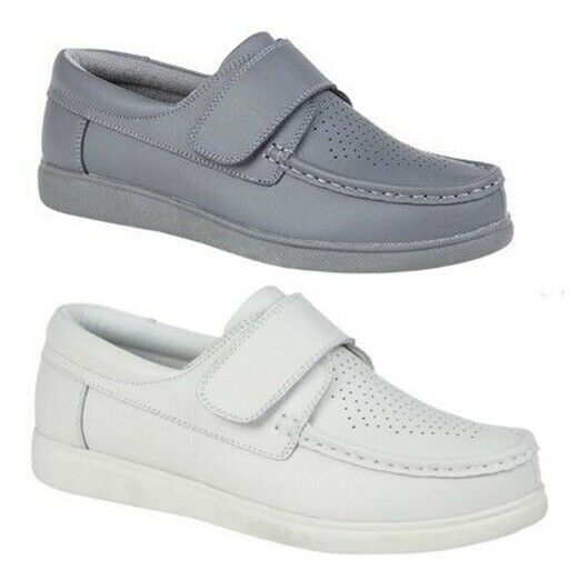 Unisex Bowls shoes Mens Womens White Grey 3 12 Touch Fastening Coated Leather 29