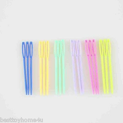 "100Pcs Mixed Color Plastic Sewing Needles Knitting Crafts 7cm(2 3/4"")"