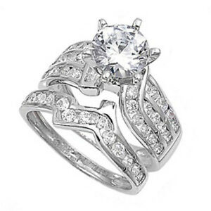.925 Sterling Silver Bridal Engagement Ring Set with Round Cut Clear CZ