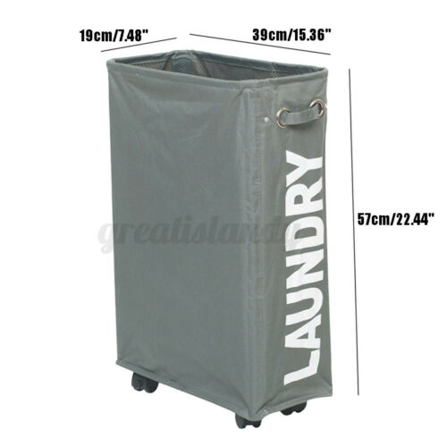 Corner Slim Foldable Laundry Basket Bin Mesh Drawstring Dirty Waterproof