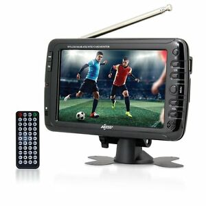 """Axess TV1703-7 LCD TV 7"""" with ATSC Tuner, Rechargeable Battery and USB/SD Inputs"""
