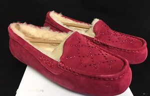 cf1feb122a9 Details about Ugg Australia Ansley Crystal Diamond Oxblood Pink Red Shoes  Slippers 1012885