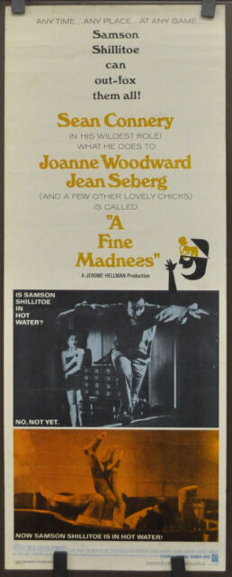 A Fine Madness (1966) Original Movie Poster One Sheet Sean Connery, Joanne Woodward & Irvin