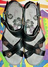 Propet Stylish Black Leather Marnie Sandal with Adjustable Straps-7M