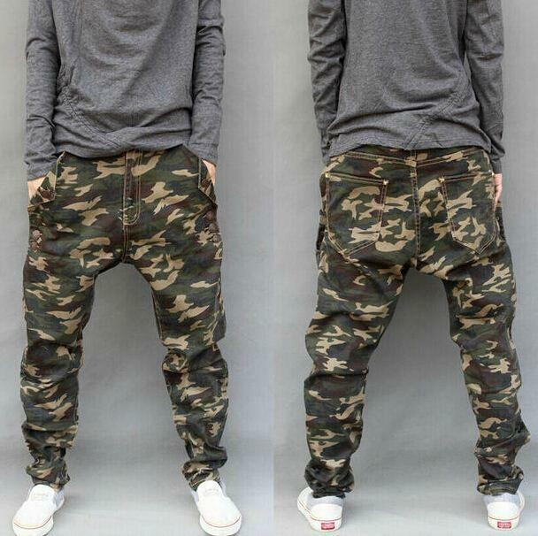New Mens camo Harem Trousers Baggy cargo Pants Drop Credch Casual Jeans
