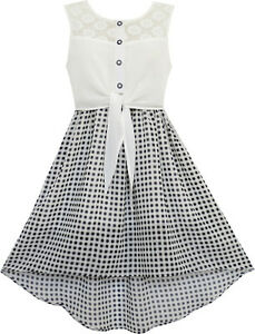 Girls-Dress-Lace-To-Chiffon-Checkered-Black-White-Tied-Waist-Size-7-14