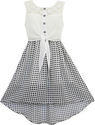 Sunny Fashion Girls Dress Lace To Chiffon Checkered Black White Tied Waist 7-14