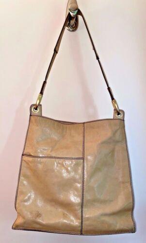 HOBO BAGS tan glazed leather square shoulder bag … - image 1