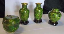 Cloisonne Set of Delightful Green Pair Table Vases &  Apple & Honey Jar passover