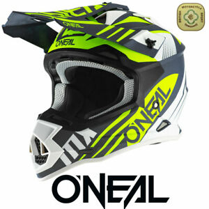 Oneal Motocross Helmet 2 Series Neon Yellow Blue MX Helmet Dirt Bike Off Road