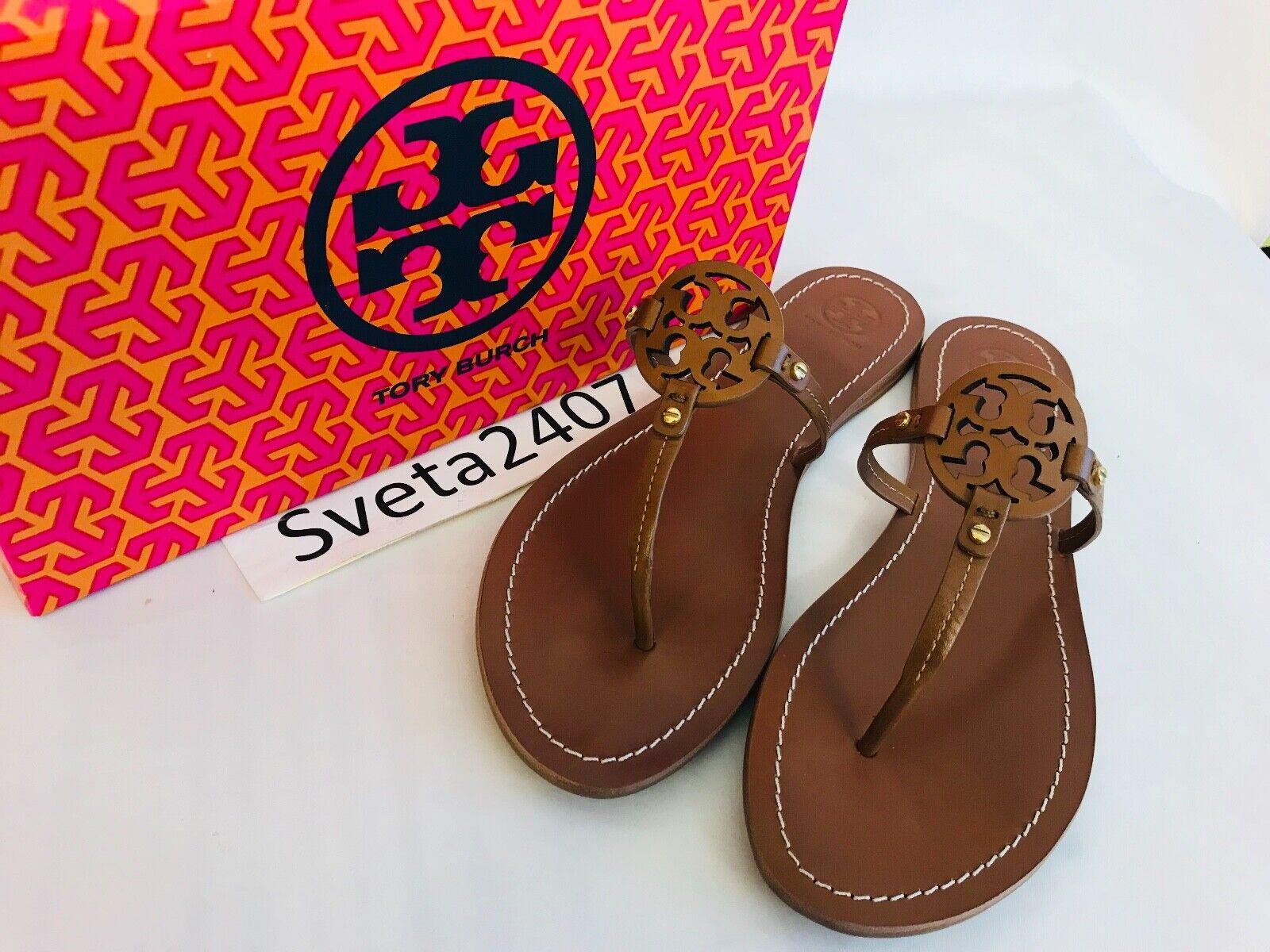 Tory Burch NIB MINI MILLER Thong  Flat Sandals Leather Logo 35;32340 Royal Tan  negozio all'ingrosso