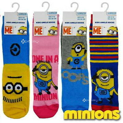 6 Pares Niños Niñas Despicable Me Minions calcetines Zapatos Tallas 6-8 Y 9-12 & 12-3