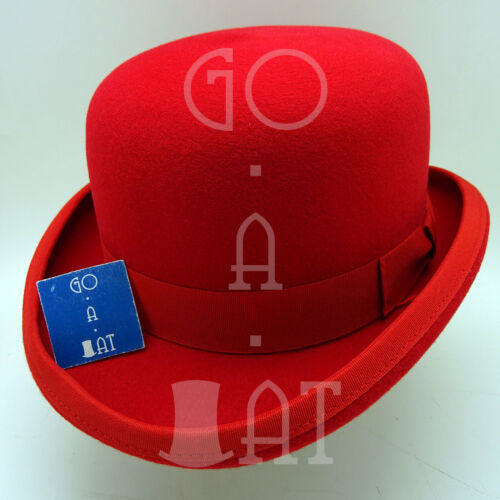 CLASSIC Wool Felt Dura Bowler Top Hat Derby Hard Crown Men Women 59cmRed