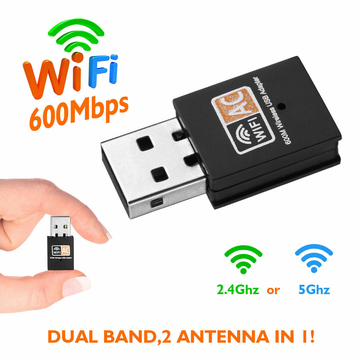 600Mbps 2.4-5ghz USB Dual Band Wireless Adapter WiFi Dongle