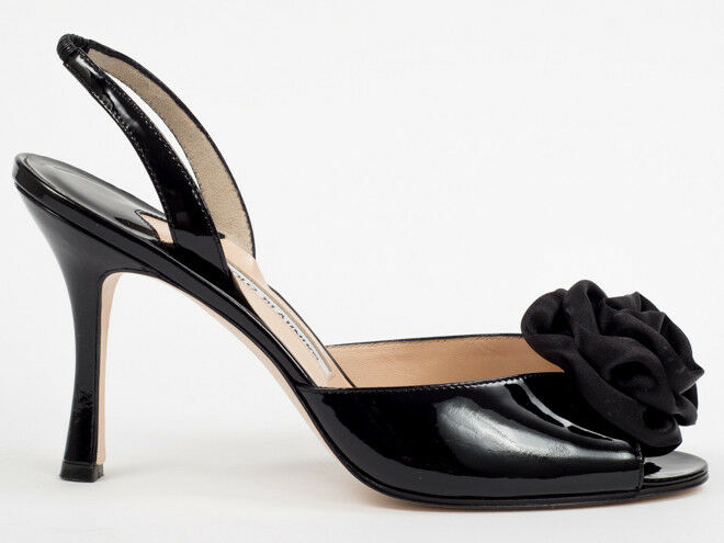 New  Manolo Blahnik Black Patent Leather Leather Leather Sandals Size 38.5 US 8.5 9ddf23