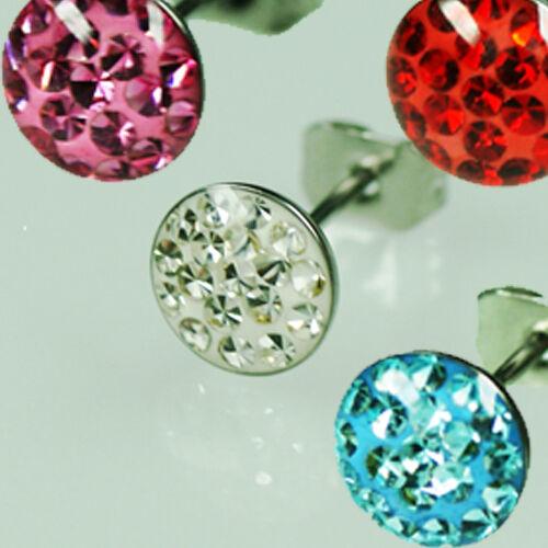 1 Paar Stahl Kreis Ohrstecker Epoxy versiegelt viele Kristalle Ohr Piercing Ring