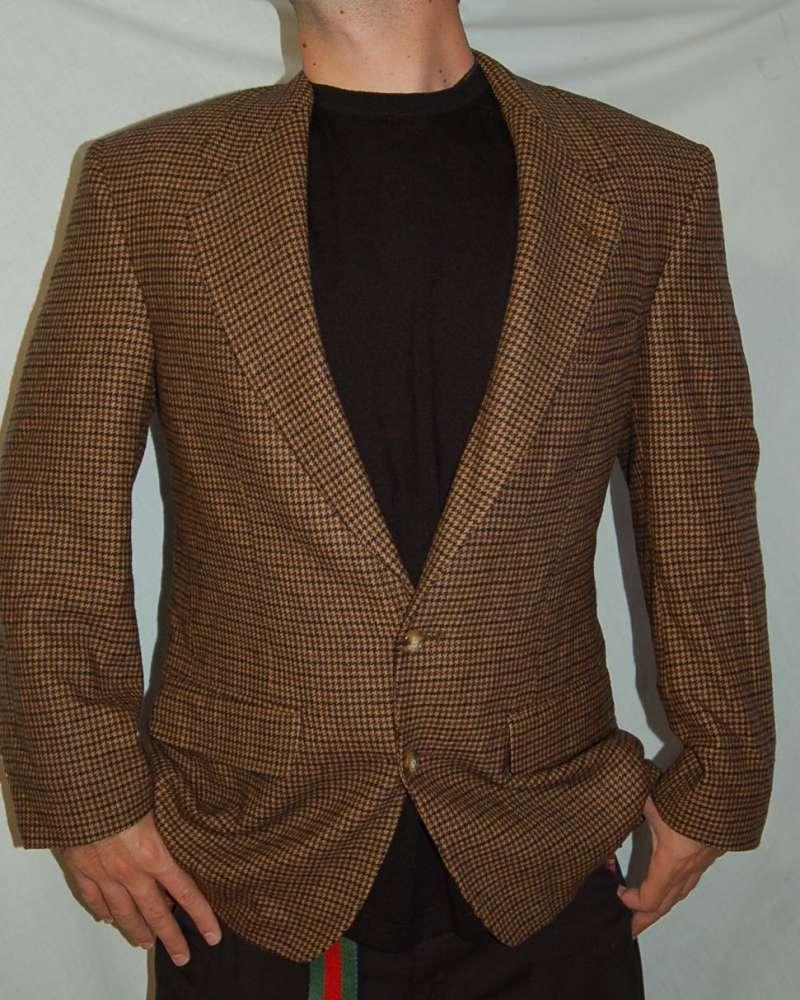 Beshars's all cashmere Größe M - L Braun Glen Plaid TWEED Wool Sport Coat