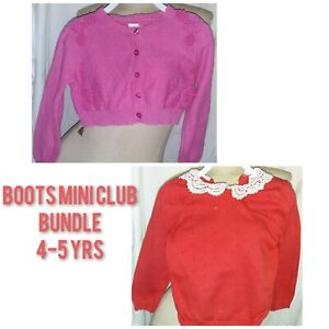 Mini Club Bottes Filles Cardigan & Pull Set 4-5 ROSE ORANGE broderie anglaise Fab