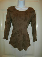 Chicos Top Size 0 Brown Embroidered Happy Fun Love