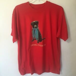 Daniel-Cremieux-Black-Lab-Dog-in-Scarf-Red-T-Shirt-Shirt-Mens-XL-Short-Sleeve