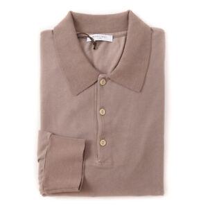 New-300-BOGLIOLI-Long-Sleeve-Pique-Cotton-Polo-Shirt-Slim-M-Light-Brown