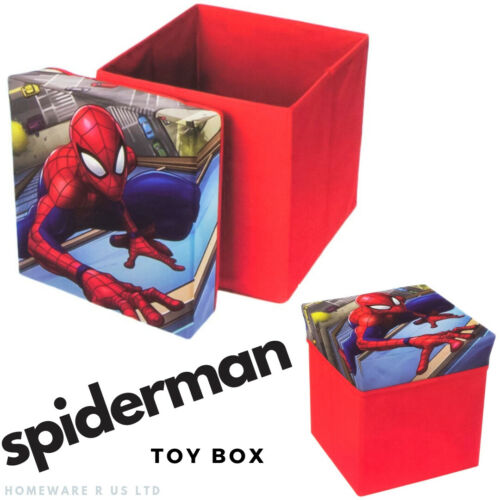 BOYS CHILDRENS SPIDERMAN BEDROOM STORAGE STOOL TOY BOX CUBE RED CHESTS OTTOMAN