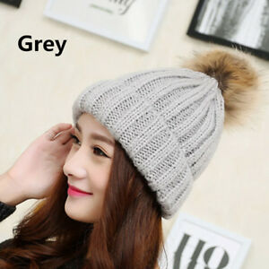 193b1c3bf34 Ladies Winter Hats Warm Thick Woolly Knitted Hat Pom Pom Bobble ...