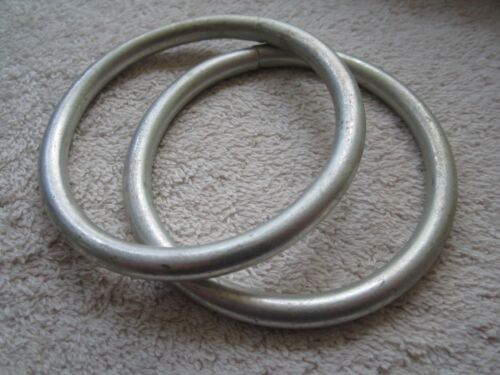"""2 VINTAGE 2 3//4/"""" ID 1//4/"""" THICK WELDED STEEL RINGS 3 5//16/"""" OD NEW OLD STOCK"""
