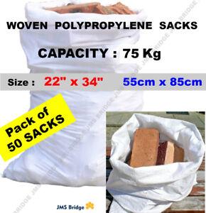 50 X Tough Woven Polypropylene Builder Rubble Sacks Bags. Ultra Strong