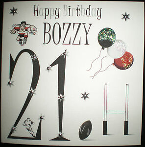 Image Is Loading HANDMADE PERSONALISED RUGBY BIRTHDAY CARD SON DAD BROTHER