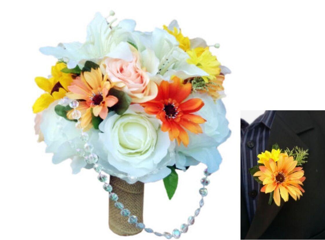2pc Beautiful Fall wedding bouquet&Boutonniere-Burlap pearl Orange Ivory Gelb