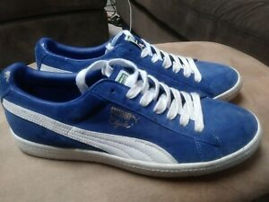 online retailer c114c 4f58d Details about Puma Clyde Mens Blue Suede Low Top Lace Up Sneakers Shoes  Size 11