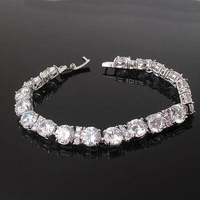 "Awesome 18k white gold filled sapphire Crystal prevalent bracelet 7""22.7g"