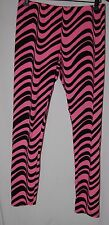 Energie Womens L Neon Pink Black Wavy Stripe Stretchy Sexy Pants Leggings