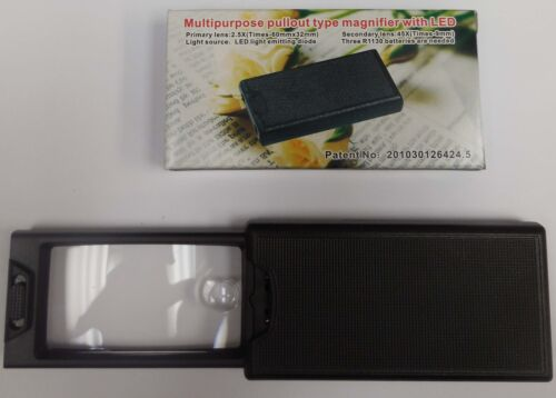 UV 2.5X Multi Purpose Pull Out Magnifier w// LED 45X Coin Currency Reading