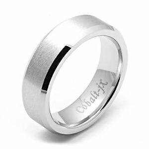 14k White Gold Ring Mens 7mm Wide Cobalt Wedding Band For Womens New