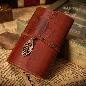 Retro Leather Vintage String Leaf Blank Diary Notebook Journal Sketchbook Red DE