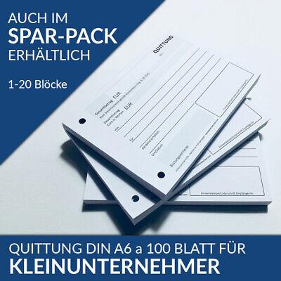 Kleinunternehmer DIN A6 Block á 100 Blatt NEU RECHNUNG BELEG QUITTUNGSBLOCK f