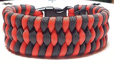 Black Trilobite Weave Survival Wear Whistle Buckle Handmade Paracord Bracelet