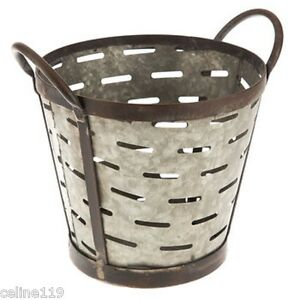 Galvanized rustic metal olive bucket with handles shabby for Rustic galvanized buckets
