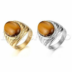 Men-039-s-Vintage-Stainless-Steel-Oval-Tiger-Eye-Stone-Patterned-Ring-Band-Size-7-13