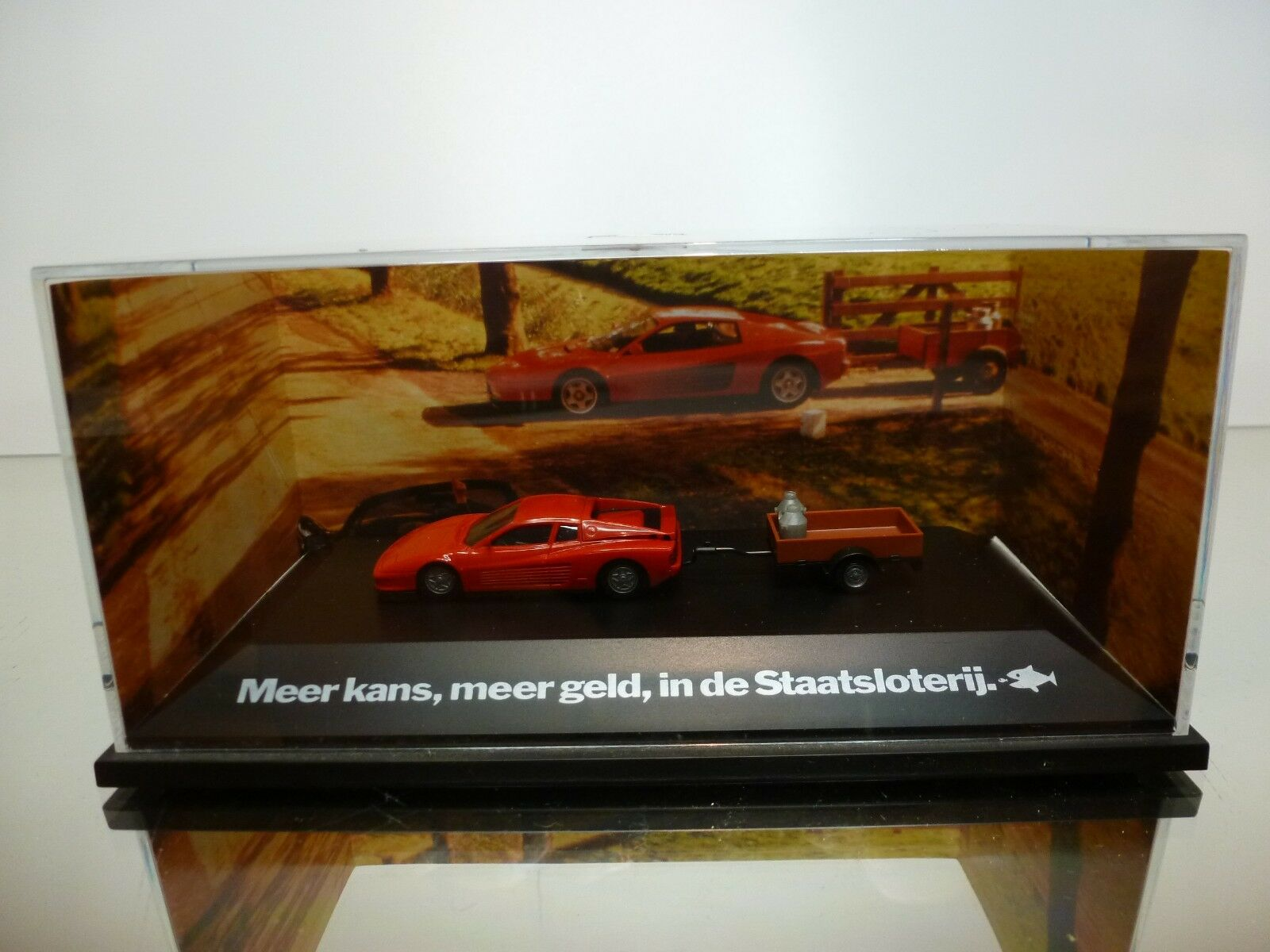 HERPA FERRARI TESTAROSSA TRAILER- DUTCH PROMO - RED 1 87 VERY RARE - GOOD IN BOX