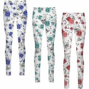 f6013a5d1d4e5 Image is loading Womens-Skull-Floral-Flower-Print-High-Waist-Stretch-