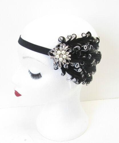 Noir Et Blanc Perle Argent Plume Serre-tête Bandeau Franges Vintage 1920s M98