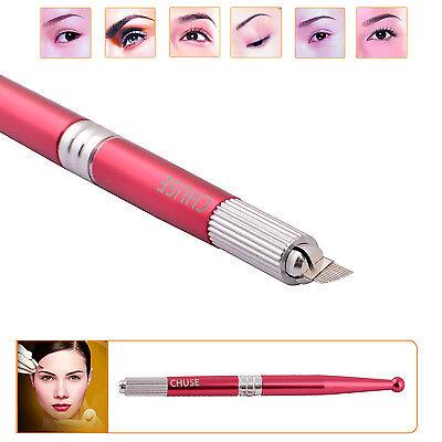 Chuse Aluminium Red Permanent Eyebrow Makeup Handmade Manual Tattoo Pen With Box