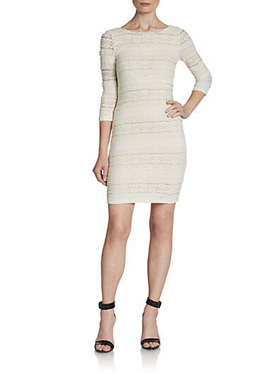 NEW Willow Clay dress Large ivory lace scoop back stretch bodycon sexy NWT