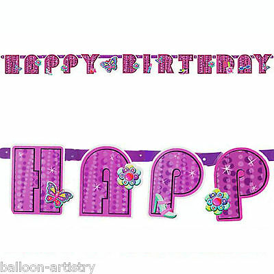 Pink Glitzy Girl Happy Birthday Party Butterfly Letter Banner Decoration