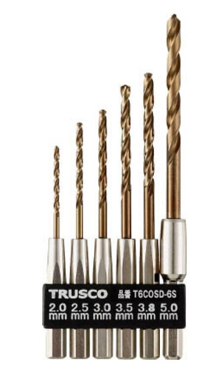 TRUSCO / HEXAGONAL SHANK COBALT DRILL 6 SIZE SET / T6COSD-6S