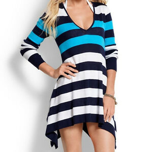 989005ed8b Tommy Bahama Bold Stripe Hi Low Beach Sweater Coverup SMALL $118 ...