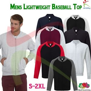 Fruit-of-the-Loom-Mens-Lightweight-Baseball-Full-Zip-Sweat-Jacket-Unbrushed-TOP
